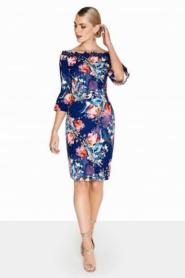 navy and orange floral printed knee length dress with boat neck