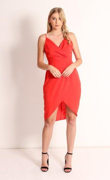 red spaghetti strap sweetheart neckline tulip dress