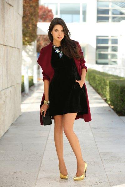 black mini tulip dress with burgundy draped coat
