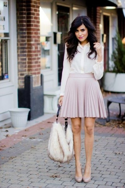 white chiffon button up shirt with light gray mini pleated skirt