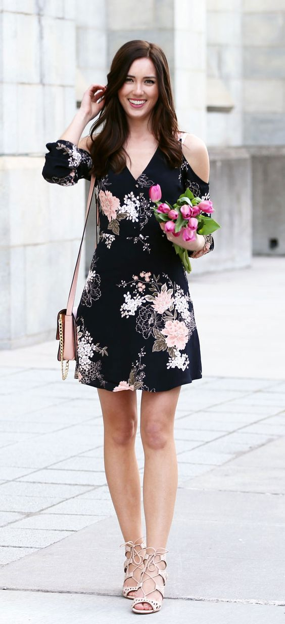 floral cold shoulder dress black pink