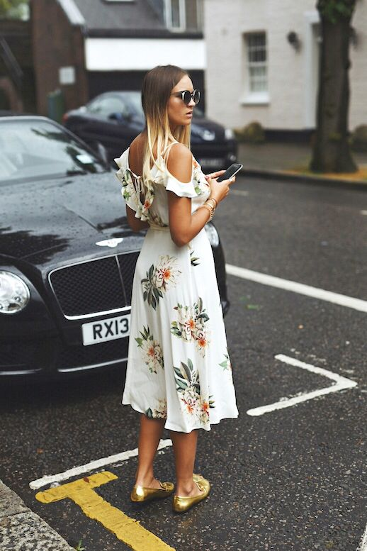 floral cold shoulder dress white