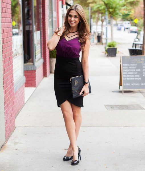 deep green camisole with black tulip skirt