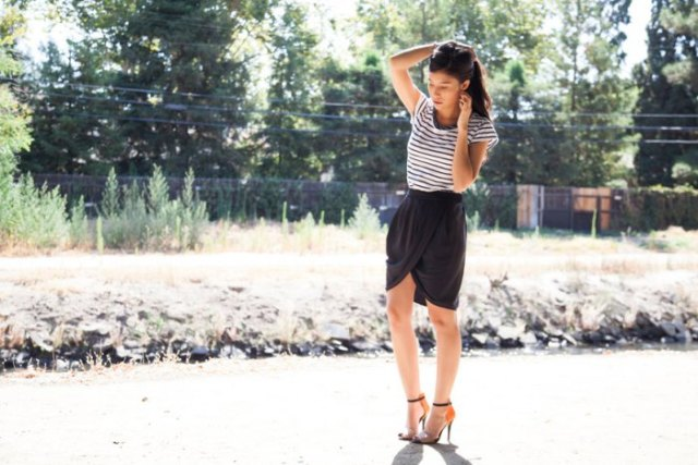 black mini skirt with striped short-sleeved tee