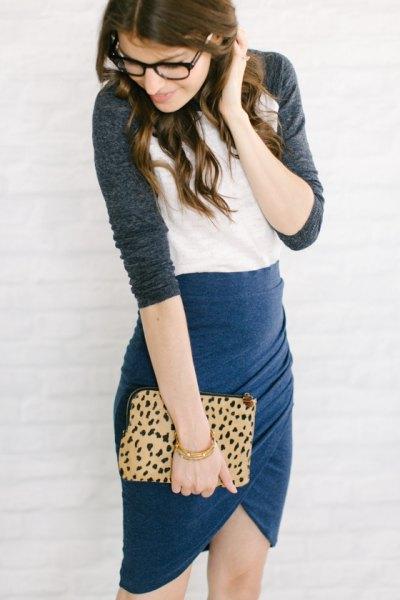 baseball tee navy tulip skirt cheetah clutch bag