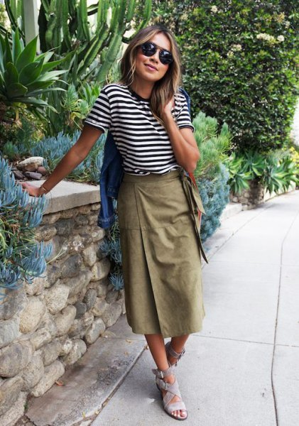 black and white striped t-shirt with long khaki wrap skirt