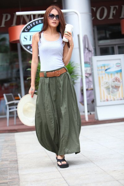 light gray western top with green long khaki skirt