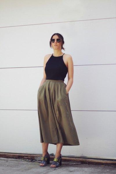 black halter top with green khaki skirt