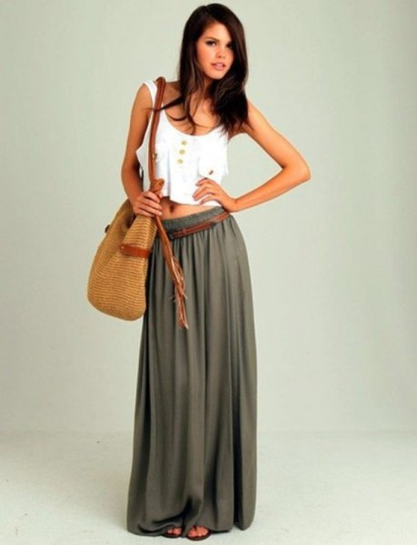 white western crop with green floor length skirt