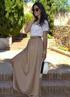 white lace short sleeve top with green long skirt