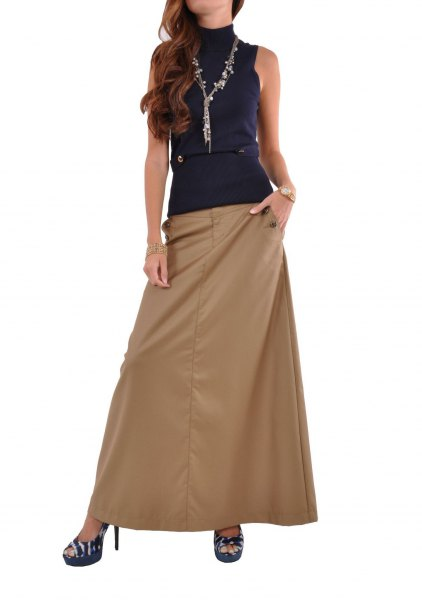 navy blue suede neck top with khaki long skirt