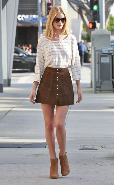 white and gray striped long sleeve tee with brown suede button down miniskirt