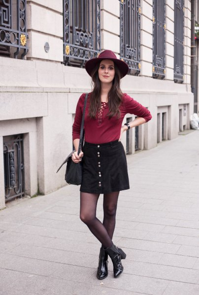 black button down mini skirt with burgundy lace shirt