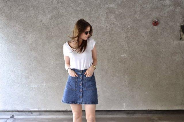white t-shirt with blue denim button down miniskirt