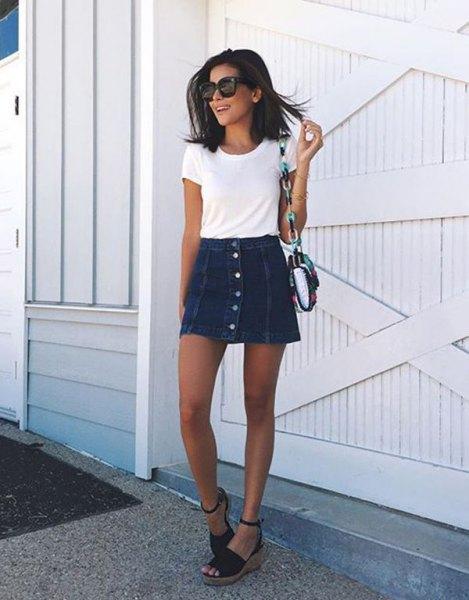 white t-shirt with mini skater denim button front skirt