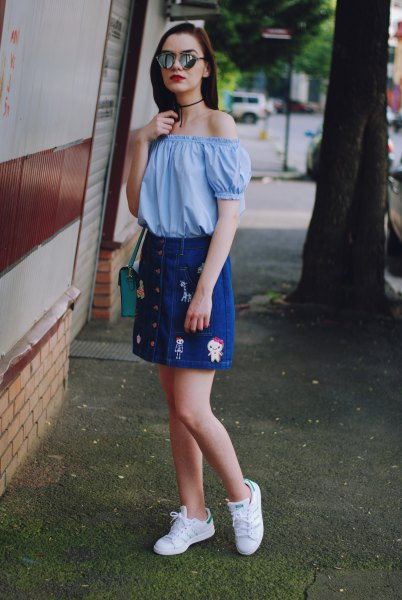 sky blue from the shoulder blouse with embroidered button up denim skirt