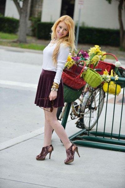gray velvet heels with white long sleeve shape sweater
