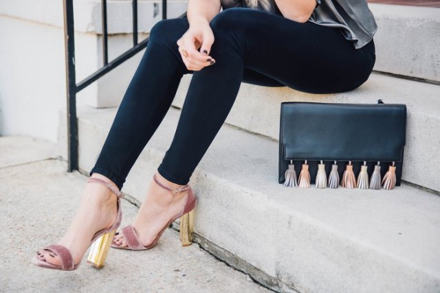 gray and gold velvet heels with silver silk top