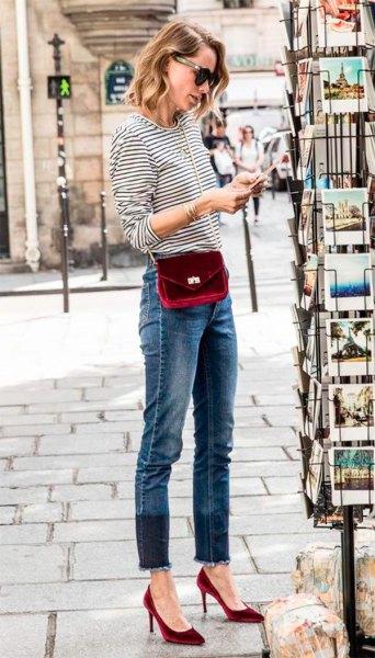 burgundy velvet heel with black and white striped long sleeve t-shirt