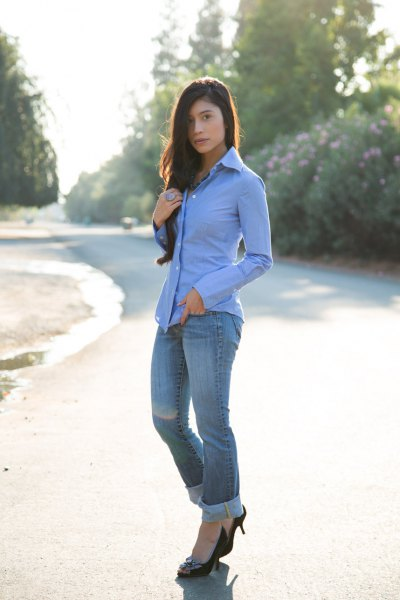 black velvet heels with sky blue button up shirt