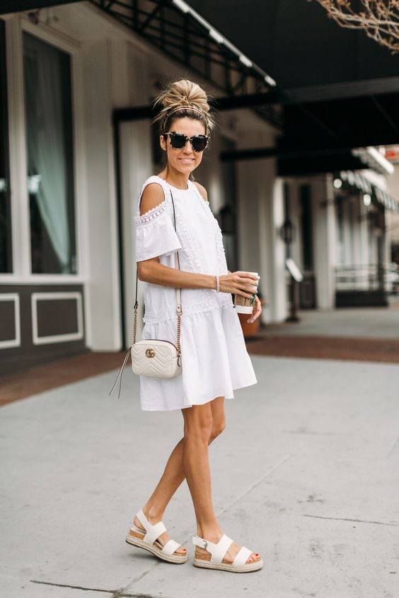 white cold shoulder dress completely white