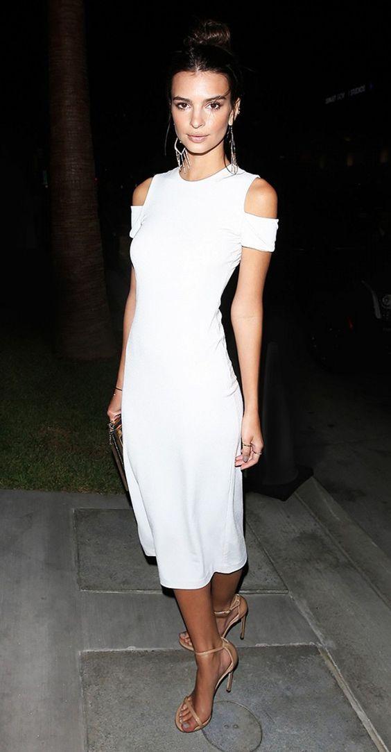 white cold shoulder dress elegant