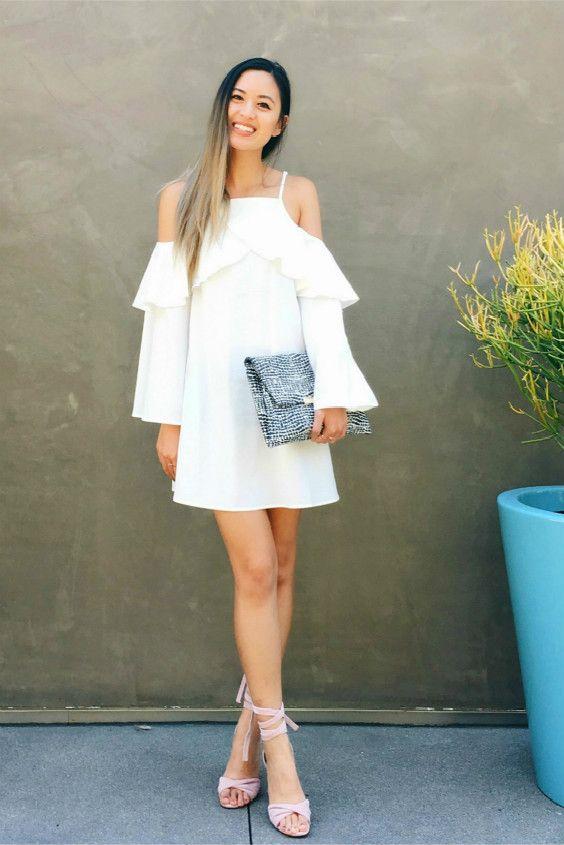 white cold shoulder dress ruffle neckline