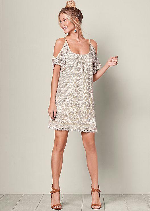 white cold shoulder dress lace