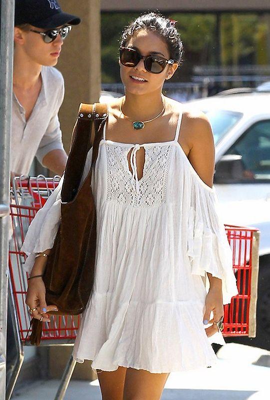 white cold shoulder dress boho