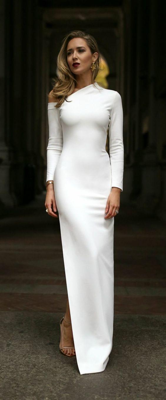 white cold shoulder dress long