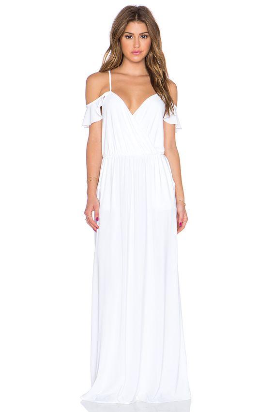 white cold shoulder dress maxi