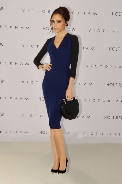 black and deep blue midi bodycon v-neck dress