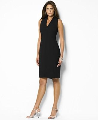 black sleeveless v-neck sheath knee-length dress