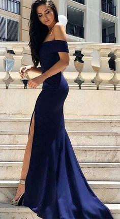 navy blue from the shoulder with a high split dress in floor length