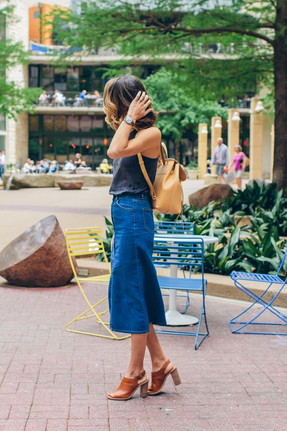 denim midi skirt backpack