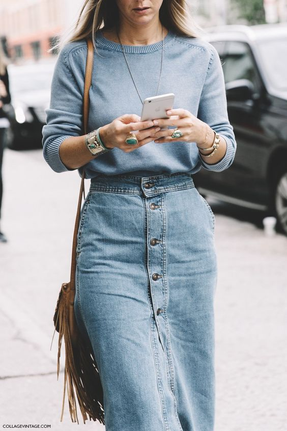 denim midi dress pastel