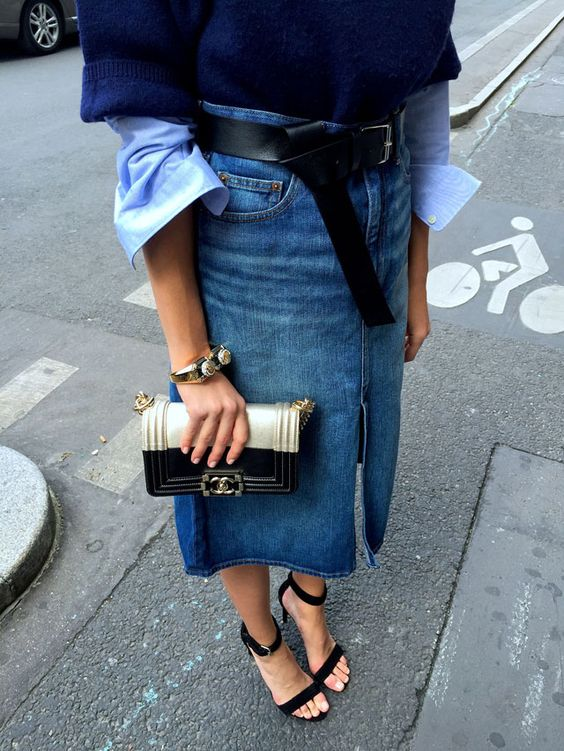 denim midi skirt sophisticated