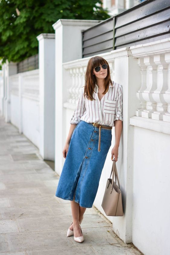 denim midi skirt striped