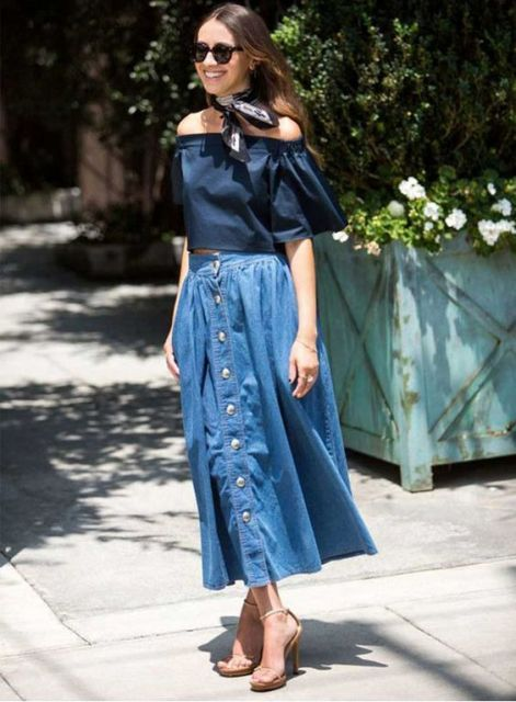 denim midi skirt French Riviera