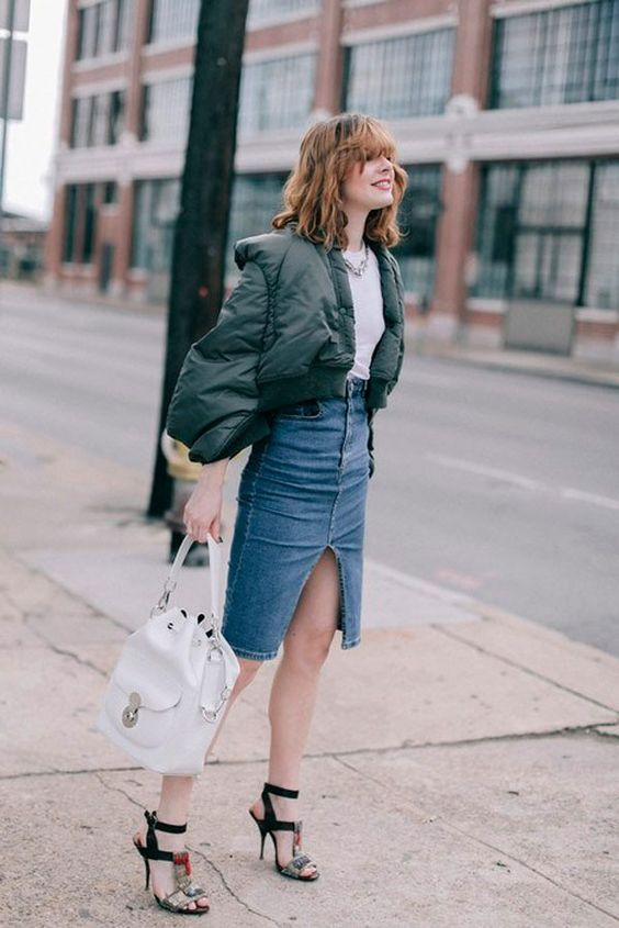 denim midi skirt puffer jacket