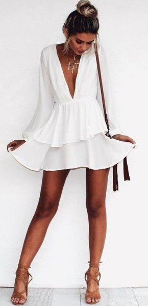 white long sleeve deep v-neck chiffon skate dress