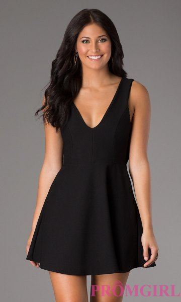 black tank deep v-neck skater mini dress