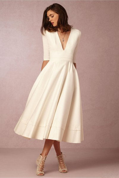 white half-heated deep v-mid mid flared dress
