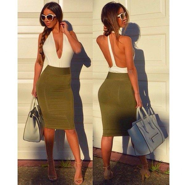 two colored bodycon midi dress