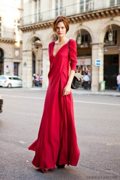 red three quarter sleeve low cut floor length dress