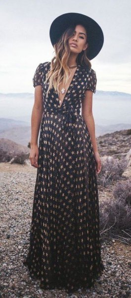 black and white star print maxi dress with low cut