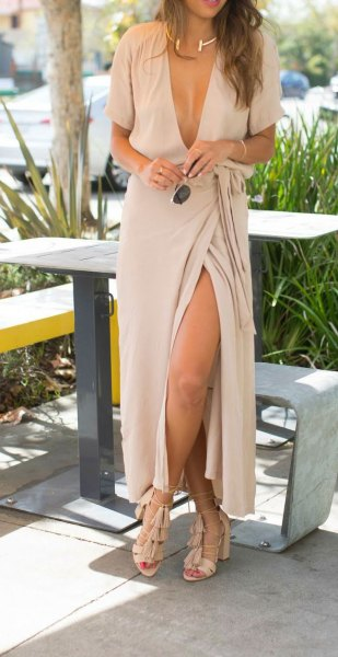 light pink plunging neckline maxi wrap dress