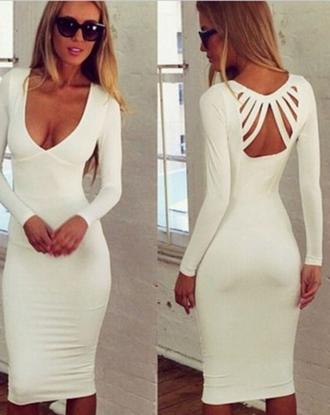 white plunging neckline and midi dress in back