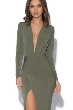 olive long sleeve dress with high split