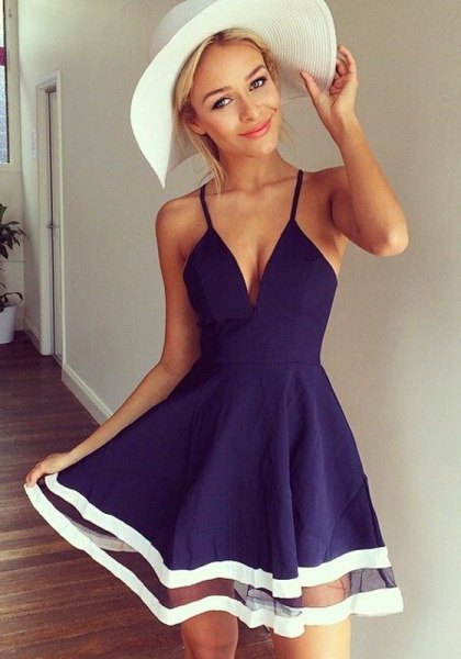 dark blue plunging neck skate mini dress